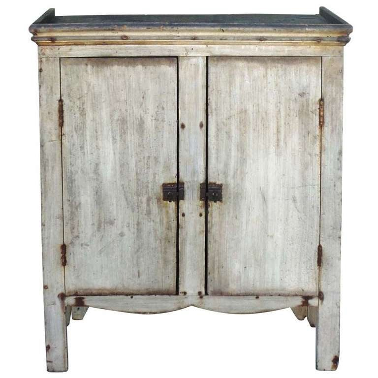 amazing 19thc original sage green painted jelly cupboard