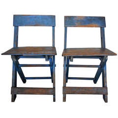 Amazing Pair of  19thc Original Blue Painted N.E. Folding Camp Chairs