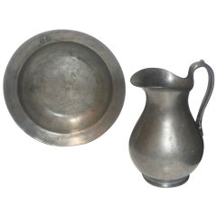 Monumental Pewter Pitcher and Bowl Dated 1760