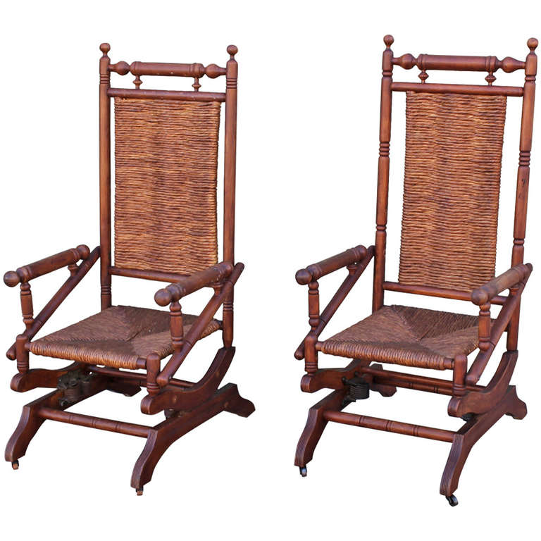Incroyable Pair Of Rustic 19th Century Platform Rocking Chairs