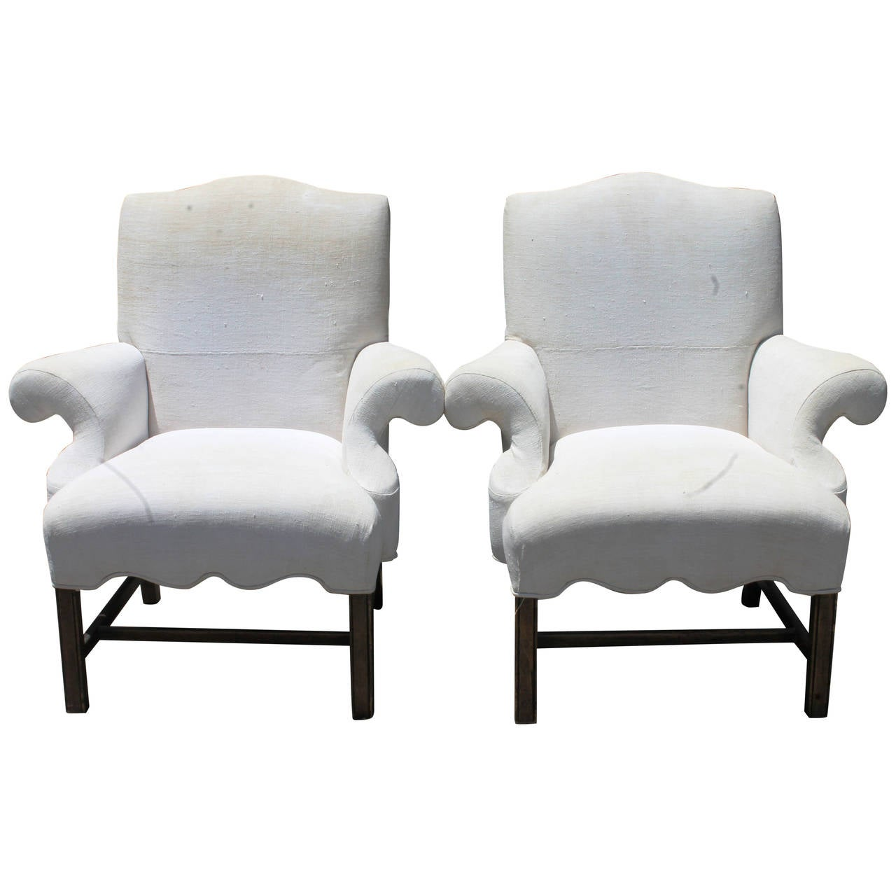 Decorative Arm Chairs ~ Pair of decorative chippendale arm chairs upholstered in