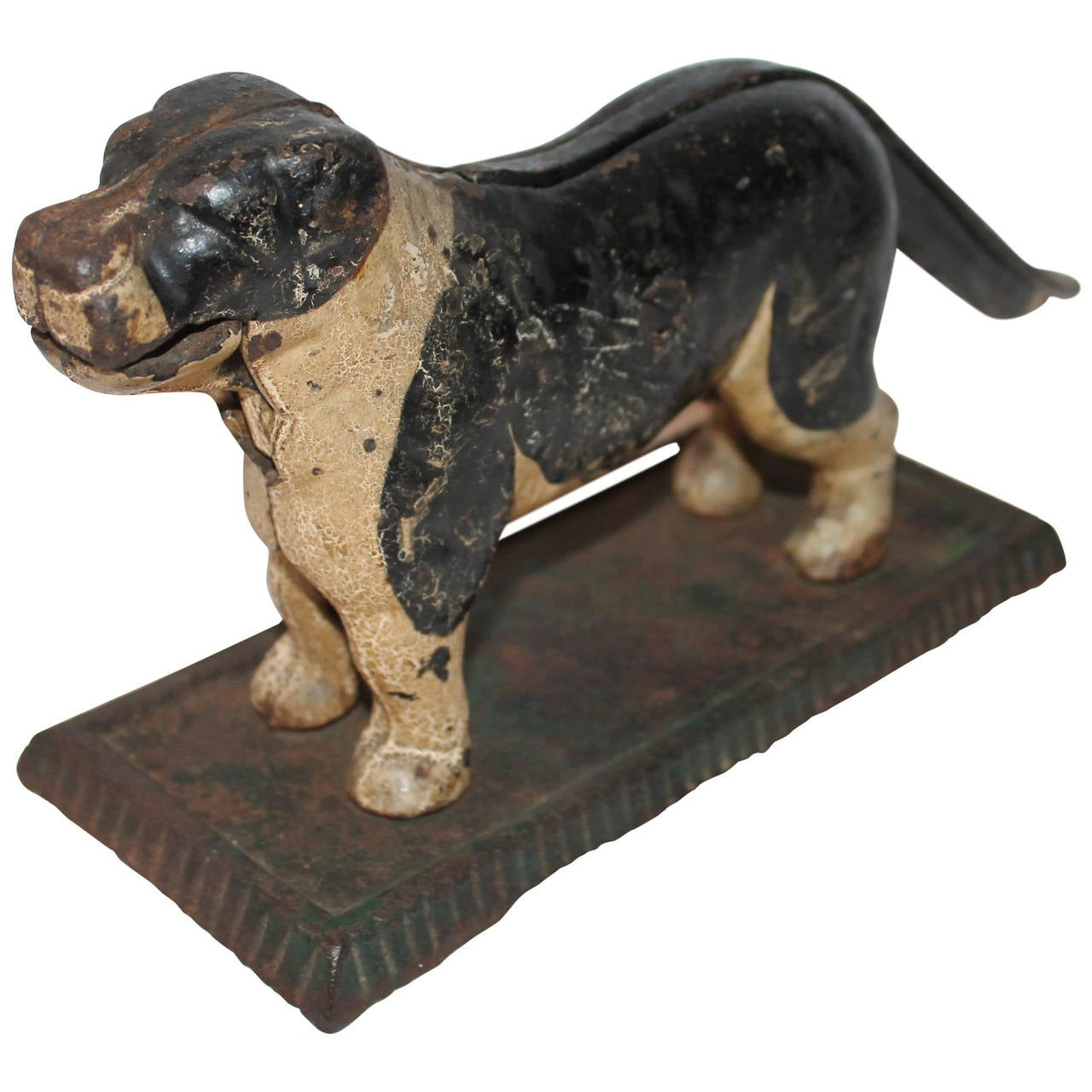 Th century original painted cast iron dog nut cracker at