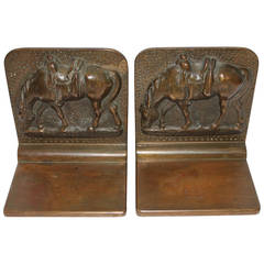 Monumental Bronze Heavy Pair of Horse Bookends