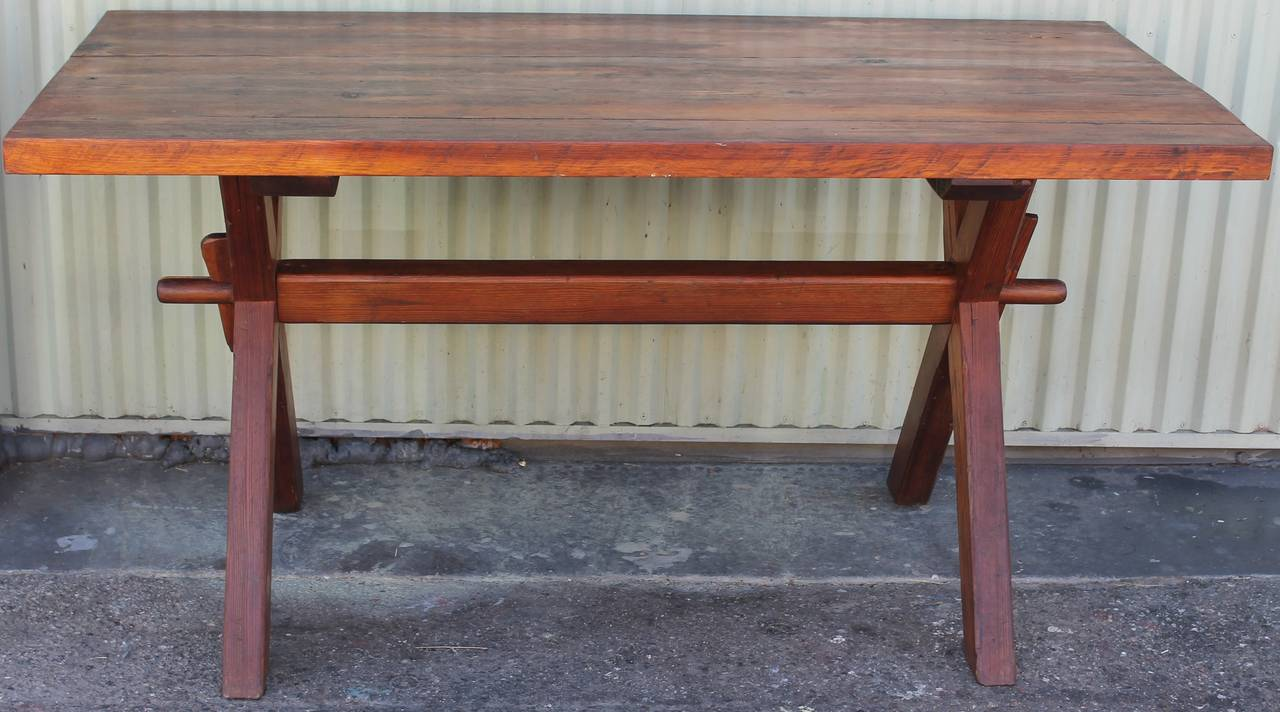 19th Century American Pine Plank Top Saw Buck Dining Table At 1stdibs