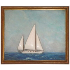 19th C. Folky Oil Painting Diarama On Art Board In Originalframe