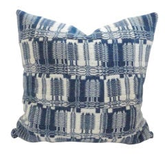 19th C. Blue And White Patchwork Coverlet Pillow