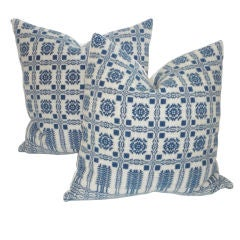 19th C. Blue  And White Coverlet Pillows