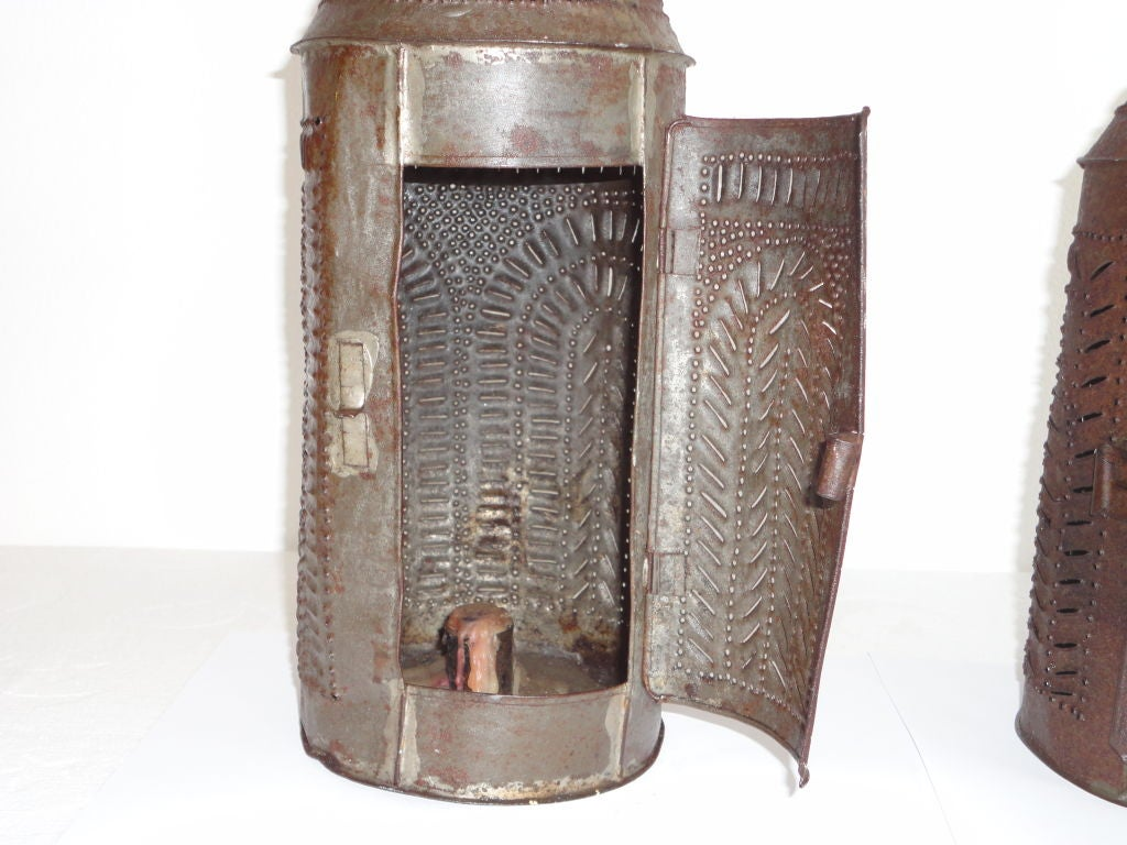 Pair of early 19thc punched tin lanterns w candle holder - Punched metal candle holder ...