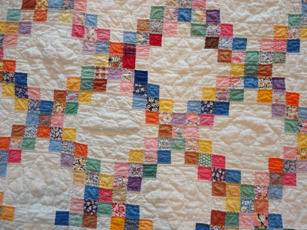 Signed and Dated 1941 Postage Stamp Double Irish Chain Quilt at 1stdibs