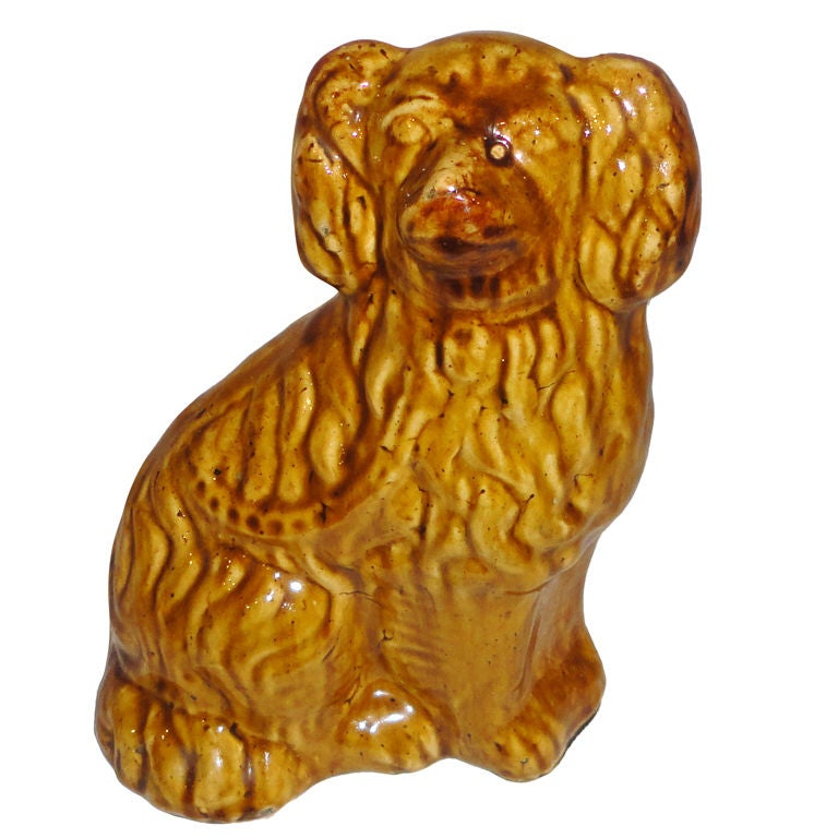 19th Century Rockingham or Bennington Pottery Dog