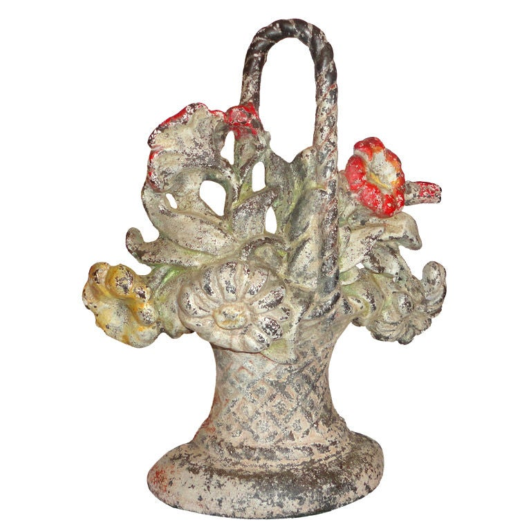19thc Original Painted Flower Basket Large Cast Iron Door