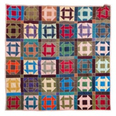 Fantastic 1940's  Amish Hole In The Barn Door Pattern Quilt