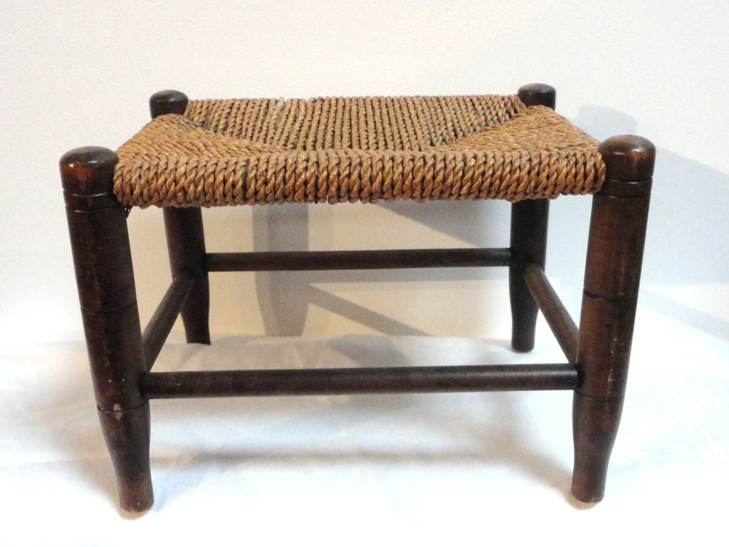 19thc Shaker Style Foot Stool W Seagrass Seat At 1stdibs