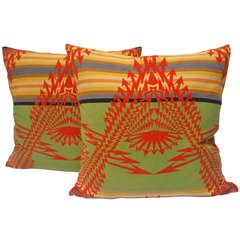 Pair of Early Pendleton Vibrant Indian Design  Pillows