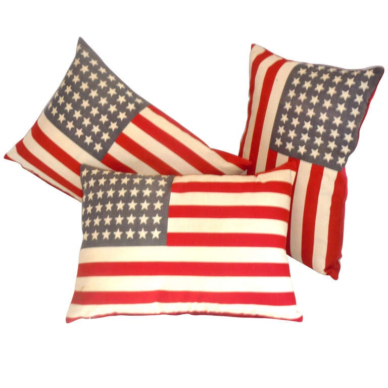 Parade Flag Pillows with 48 Stars & Red Linen Backing 1