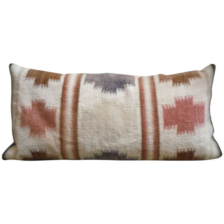 Large Navajo Indian Weaving Bolster Pillow For Sale