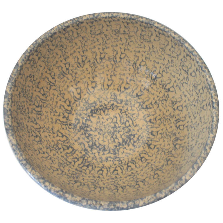 Monumental Sponge-Ware Pottery Mixing or Serving Bowl For Sale