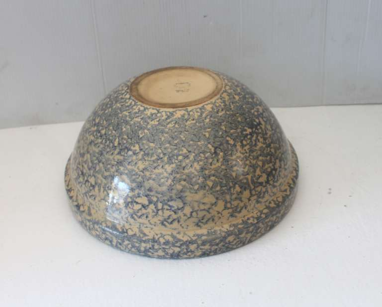 20th Century Monumental Sponge-Ware Pottery Mixing or Serving Bowl For Sale