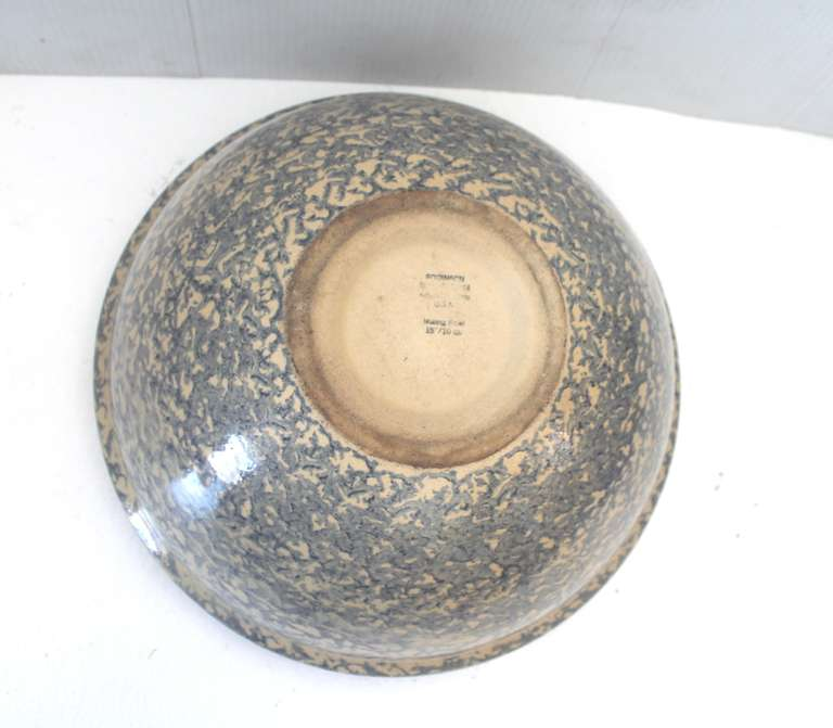 Monumental Sponge-Ware Pottery Mixing or Serving Bowl 6