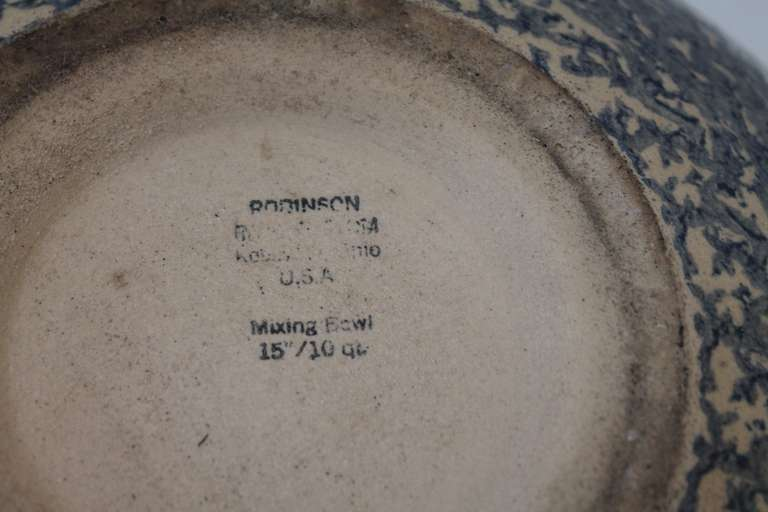 Monumental Sponge-Ware Pottery Mixing or Serving Bowl For Sale 2