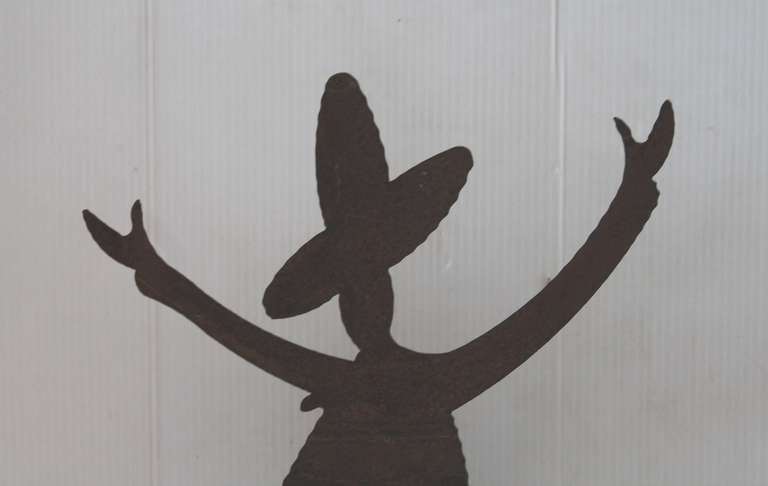 American Iron Folk Art Mexican Silhouette Sign on Stand For Sale