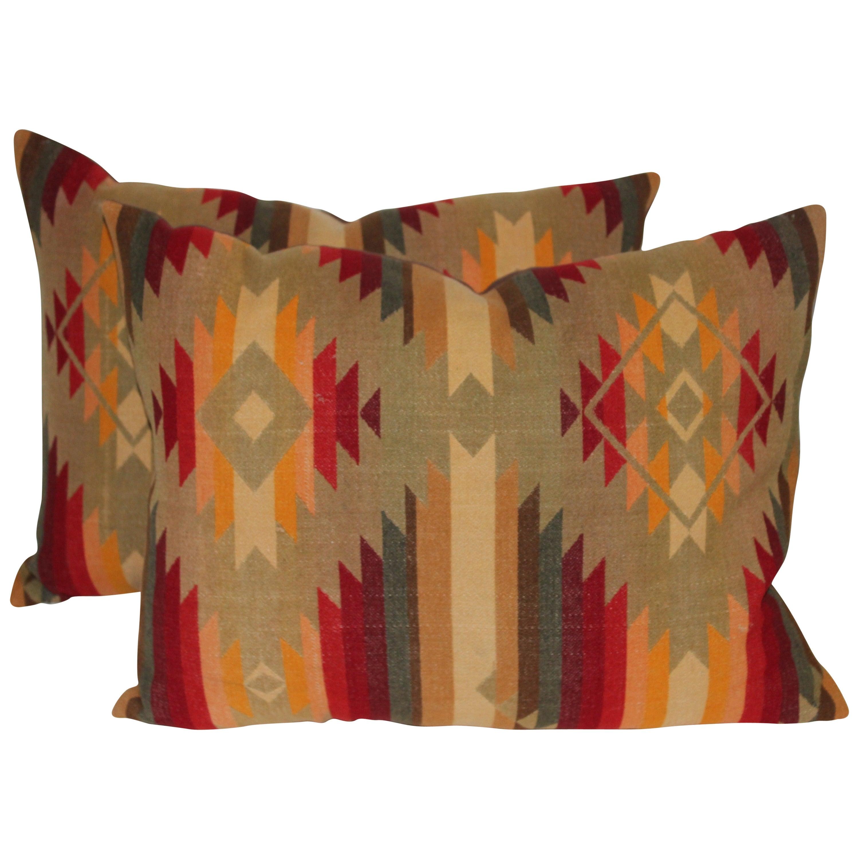 Pair of Vintage Pendleton Indian Design Blanket Pillows