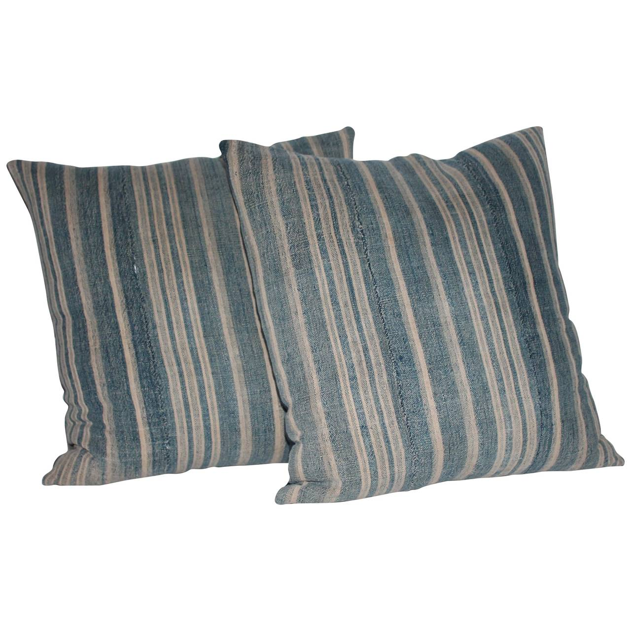 Pair of Muted Early 19th Century Blue Linen Ticking Pillows at 1stdibs