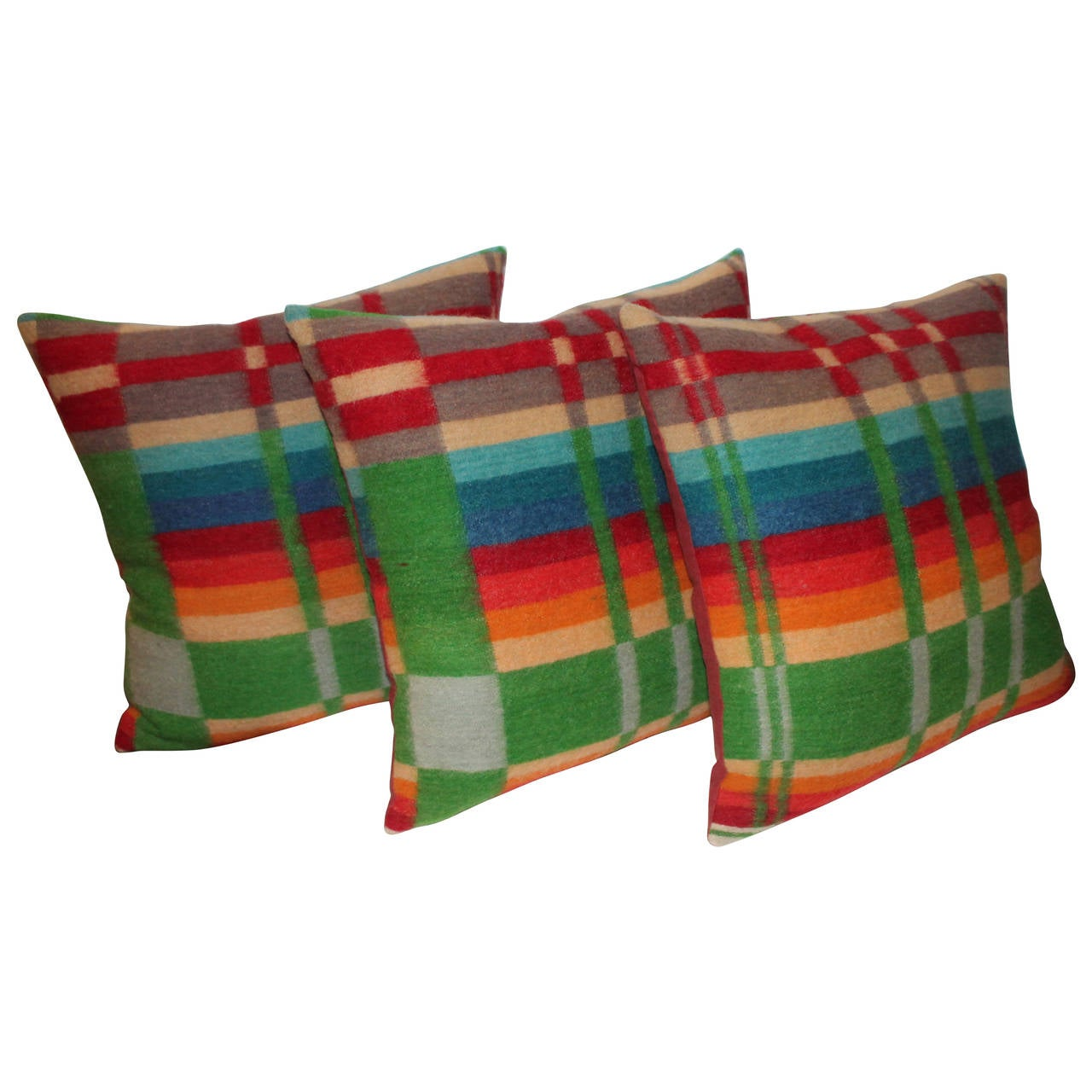 Pair of 19th Century Colorful Wool Horse Blanket Pillows