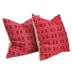 19thc Red&white Hand Woven Coverlet Pillows W/homespun Linenback