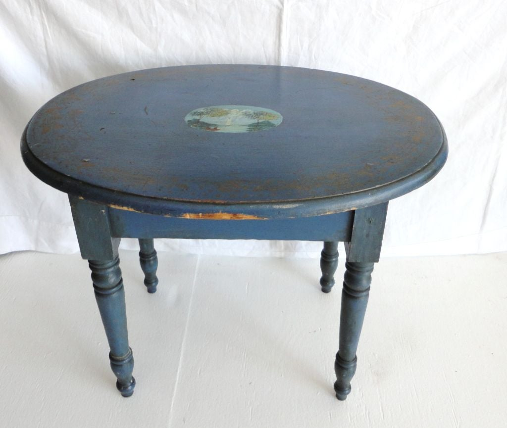 Other 19th Century Original Blue Painted Small Oval Table For Sale