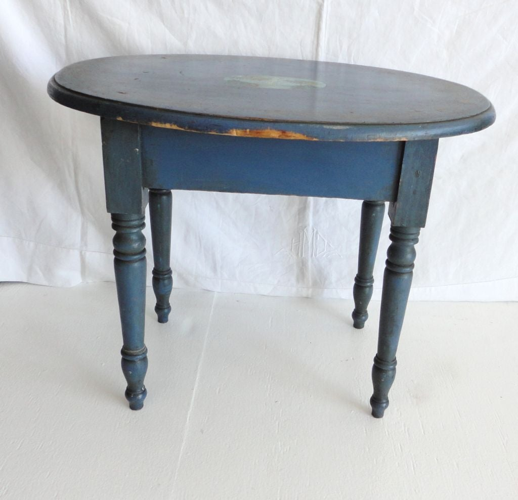 American 19th Century Original Blue Painted Small Oval Table For Sale