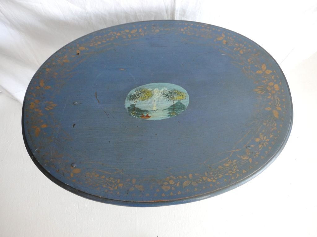 19th Century Original Blue Painted Small Oval Table In Excellent Condition For Sale In Los Angeles, CA