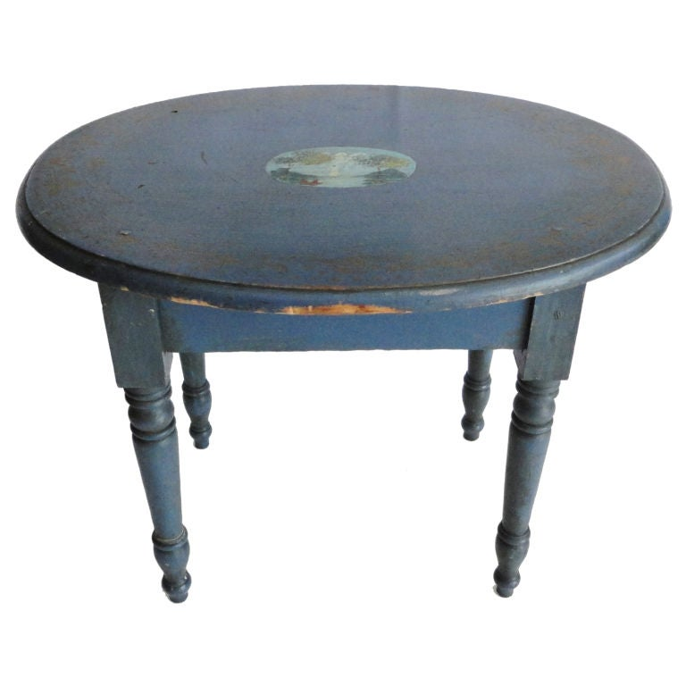 19th Century Original Blue Painted Small Oval Table For Sale