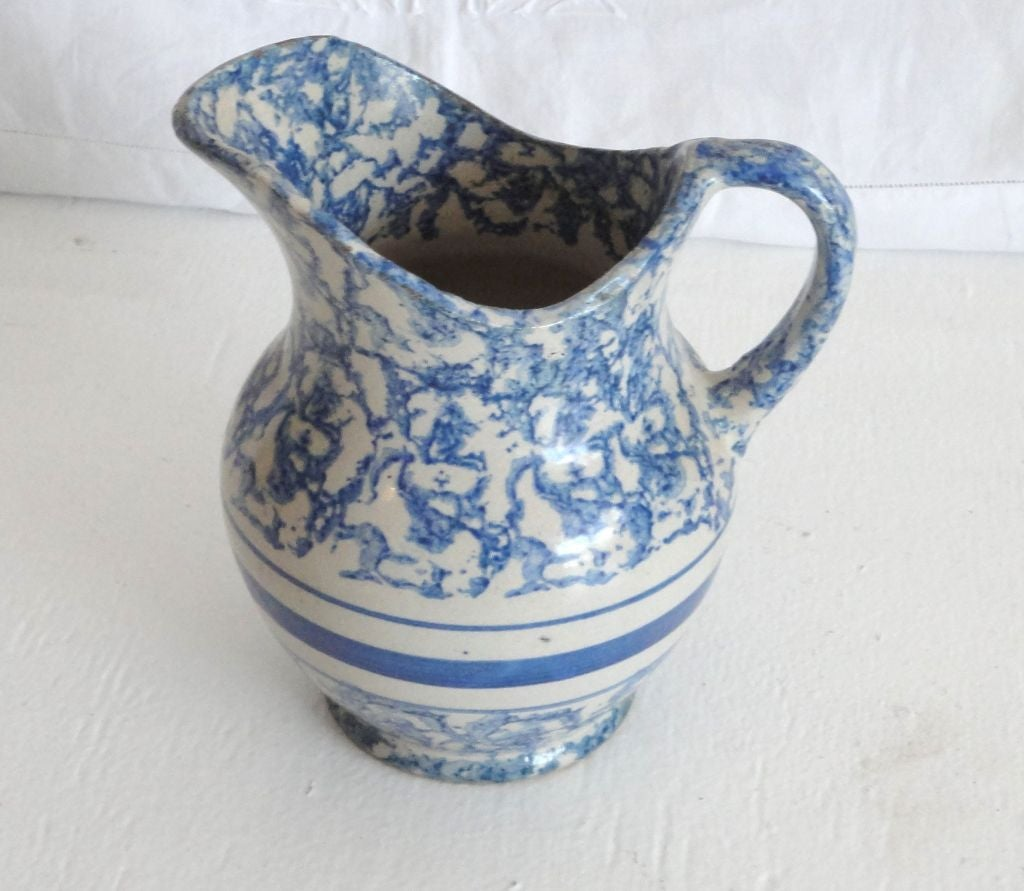 19thc Sponeware Pottery Water Pitcher From Pennsylvania At
