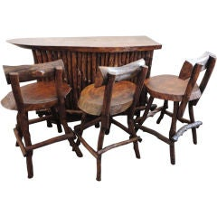 1930's Rustic Hickory & Pine Bar W/ Three Bar Stools
