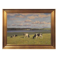 """Early Signed"""" Valdemar Mau """"cows Grazing Oil Painting"""