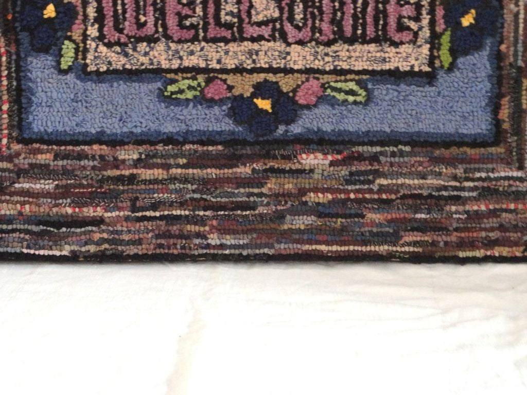 American Hand-Hooked Mounted Welcome Rug from Pennsylvania For Sale