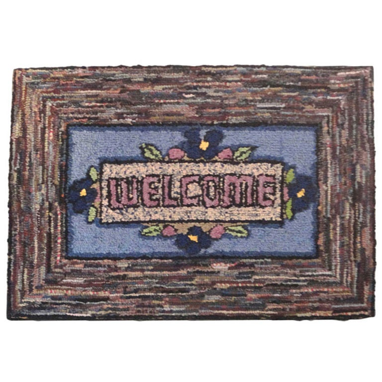 Hand-Hooked Mounted Welcome Rug from Pennsylvania For Sale