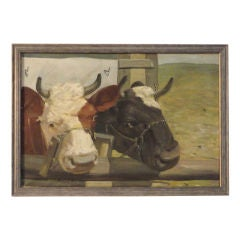 Early 20thc Signed & Dated 1924 Charming Cows Painting