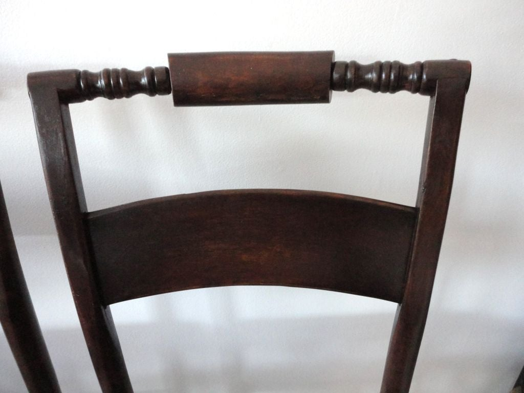 Pine Set Of Six Natural 19thc Hitchcock Chairs W/original Rush Seats For  Sale