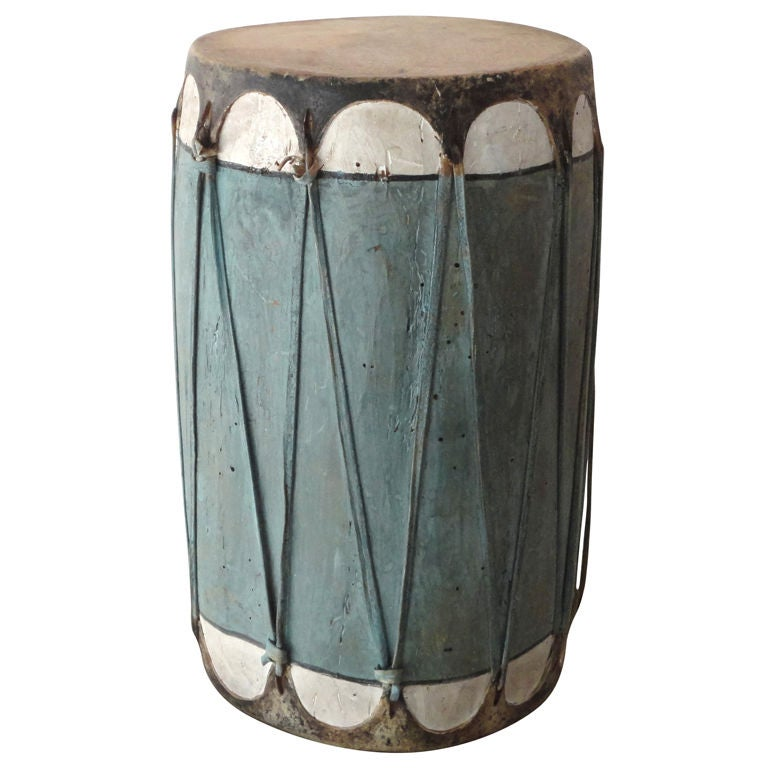 Rare Early 20thc Pueblo Original Blue Painted Drum At 1stdibs