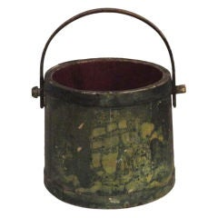 19th Century Nautical Original Painted and Decorated Water Bucket from NE