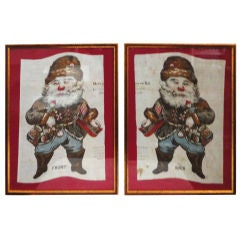 Pair Of Framed Fabric Lithos.19thc Santas/dated 1886