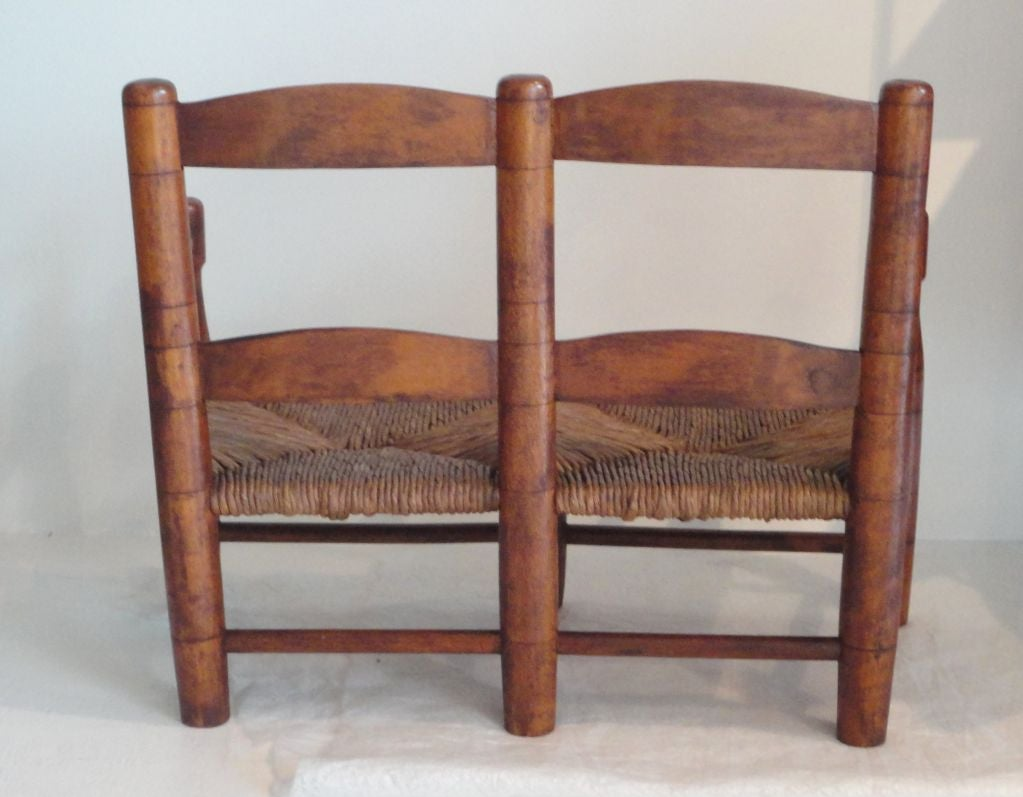 Early 19thc New England Childs Settle Bench W Original