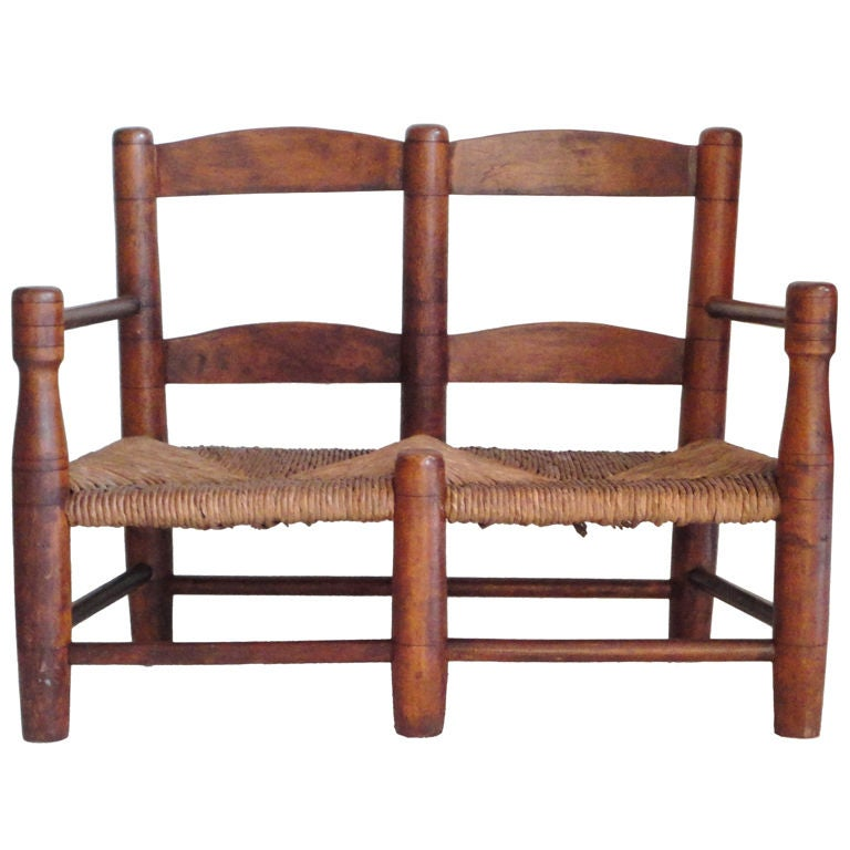 Early 19thc New England Childs Settle Bench W Original Rush Seat At 1stdibs