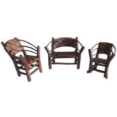 """Salesman Sample By """"old Hickory Chair Co."""" Three Piece Min. Set"""
