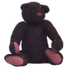 1930's Black Curly Mohair Humpback Bear W/jointed Arms And Legs