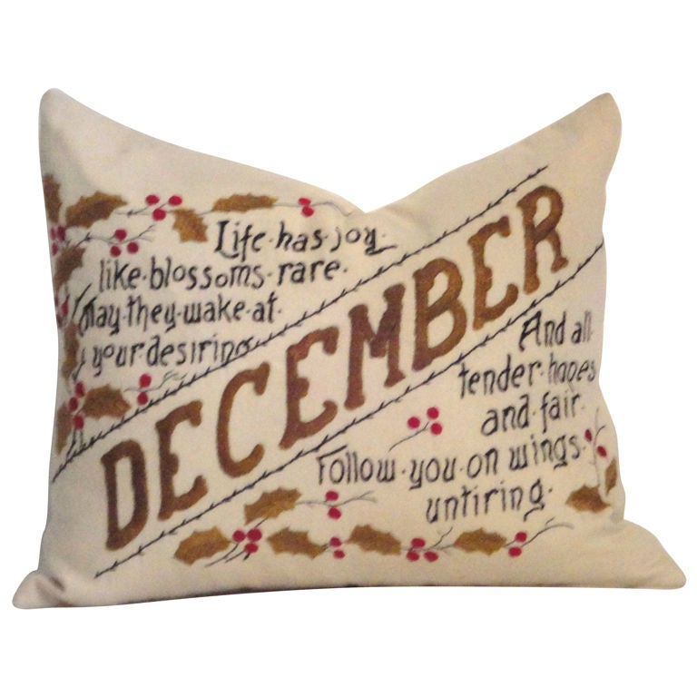 Fantastic Embroidery Holiday Pillow December With Holly At 40stdibs Extraordinary Fairon Decorative Throw Pillow