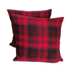 1930's Buck Plaid Wool Pendleton Blanket Pillows W/black Linen