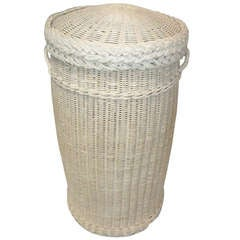 Original White Painted 19thc  Feather Basket w/ Lid